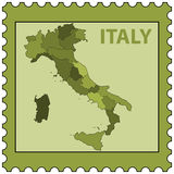 Italy map on stamp Stock Photo