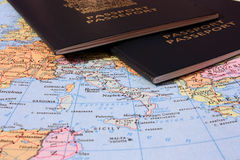 Italy Map with Two Passports Royalty Free Stock Image