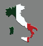 Italy map vector with the italian flag Stock Photography