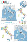 Italy maps with markers Royalty Free Stock Photography