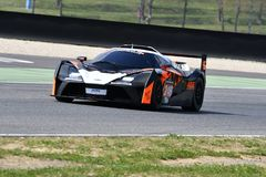 Italy - 29 March, 2019: KTM X-BOW of Reiter Engineering Germany Team. Driven by Jan Krabec/Adam Galas/Sehdi Sarmini in action during 12h Hankook Race at Mugello royalty free stock photo