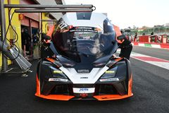 Italy - 29 March, 2019: KTM X-BOW of Reiter Engineering Germany Team. Driven by Jan Krabec/Adam Galas/Sehdi Sarmini in the Pit Lane during 12h Hankook Race at royalty free stock images