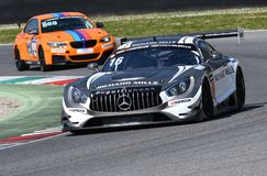 Italy - 29 March, 2019: Mercedes AMG GT3 of SPS Automotive Performance Team royalty free stock image