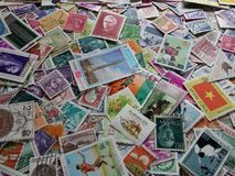 Mixed World Europe stamps background Royalty Free Stock Images