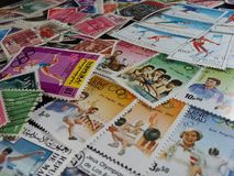 Mixed World Europe stamps background Stock Image