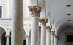 Italy, Marche region, Urbino, the Ducal Palace, the courtyard Stock Photos