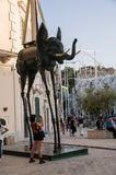 Italy. Matera. El Elefante Espacial, a monumental bronze work by the Catalan surrealist artist Salvador Dalí. The sculpture is part of the temporary stock images