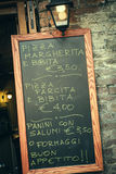 Italy menu. Typical chalkboard menu in a tourist italian city Stock Photography