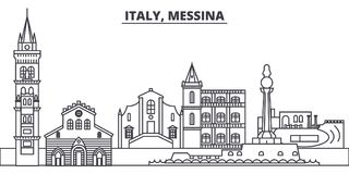 Italy, Messina line skyline vector illustration. Italy, Messina linear cityscape with famous landmarks, city sights. Vector design landscape Royalty Free Stock Photos