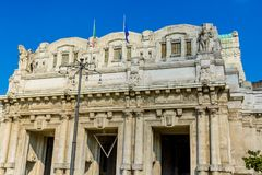 Italy ,Milan antique central railway station details. The station was inaugurated in 1931 Royalty Free Stock Photography