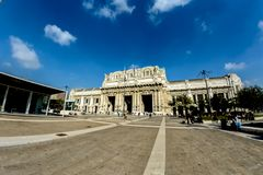 Milan antique central railway station . The station was inaugurated in 1931.Soft focus. Italy ,Milan antique central railway station . The station was royalty free stock photos