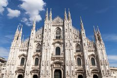 Italy Milan, the cathedral Duomo. Italy Milan, 05/09/2017. Cathedral square and facade of the cathedral Duomo Stock Photography