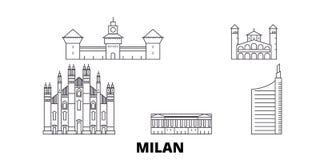 Italy, Milan City line travel skyline set. Italy, Milan City outline city vector illustration, symbol, travel sights vector illustration