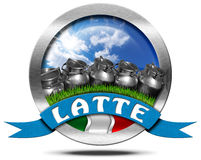 Italy Milk - Metal Icon in Italian Language Royalty Free Stock Photo