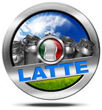 Italy Milk - Metal Icon in Italian Language Stock Photo