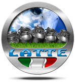 Italy Milk - Metal Icon in Italian Language Stock Photography