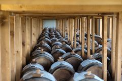 Cellar with balsamic vinegar barrels. Italy, Modena, wine estate for the production of traditional balsamic vinegar DOC, vinegar stock photography