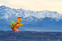 Italy, Mondovì-January 06,2013 Colorful hot air balloons flying Stock Image