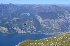 Italy, Monte Baldo, paraplane. Beautiful view of the Garda lake Royalty Free Stock Photos