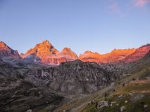 Italy - Monte Viso, the Stone King in Piemonte. Monte Viso is the highest mountain of the Cottian Alps. It is located in Piemonte in Italy close to the French stock image
