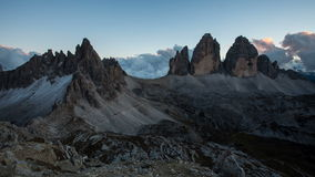 Italy mountain Dolomites Alps - Tree cime di Lavaredo, Time lapse at sunset stock footage