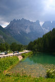 Italy mountains, Cortina D'Ampezzo (alps). High mountains on the road in Italy royalty free stock images