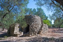 The ancient rural huts of the Puglia teriitoy Stock Photos