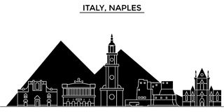 Italy, Naples architecture vector city skyline, travel cityscape with landmarks, buildings, isolated sights on. Italy, Naples architecture vector city skyline Royalty Free Stock Images