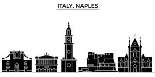 Italy, Naples City architecture vector city skyline, travel cityscape with landmarks, buildings, isolated sights on. Italy, Naples City architecture vector city Royalty Free Stock Photos