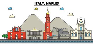Italy, Naples. City skyline architecture . Editable. Italy, Naples. City skyline architecture, buildings, streets, silhouette, landscape, panorama landmarks Stock Images
