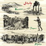Italy, Naples, Pompeii. Italy- Naples, Pompeii. Hand drawn set Stock Photo