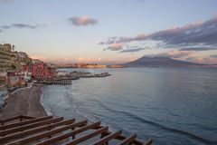 Naples - Vesuvius sunset. Italy, Naples - Vesuvius sunset on the sea Royalty Free Stock Images