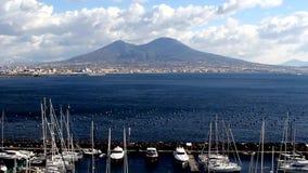 Italy, Naples vulcano Vesuvio, seascape stock footage