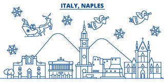 Italy, Naples winter city skyline. Merry Christmas, Happy New Year. Decorated banner with Santa Claus.Winter greeting line card.Flat, outline vector. Linear Royalty Free Stock Photos