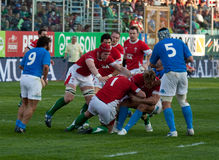 italy nation rugby six vs wales 免版税库存照片
