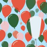 Italy National Day Flat Seamless Pattern. Flying Celebration Balloons in Colors of Italian Flag. Happy Independence Day Background with Flags and Balloons Royalty Free Stock Photography