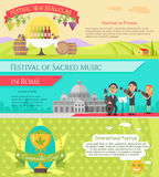 Italy National Festivals in Flat Style Design Royalty Free Stock Image