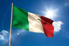 Italy national flag on flagpole Stock Photos
