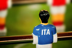 Italy National Jersey on Vintage Foosball, Table Soccer Game. Italy National Jersey on Vintage Foosball, Table Soccer or Football Kicker Game, Selective Focus Royalty Free Stock Photos