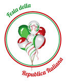 Italy National Republic Day. Vector illustration. Italy National Day. Italy Republic Day. Bunch of balloons with Italian flag colors. Italy national celebration Stock Image