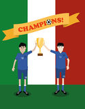 Italy national soccer players holding trophy cup Royalty Free Stock Photo