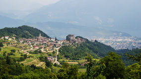 Italy,near Riva del Garda, view from above. Riva del Garda,Italy, small town on Garda lake,mountains and lake ,medieval landscape stock photos