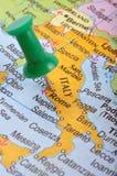 Italy no mapa Fotografia de Stock