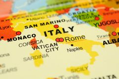 Italy no mapa Fotos de Stock