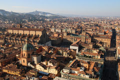 Italy. Old Bologna, Piazza Maggiore. Panorama of old Bologna, Italy Stock Photos