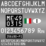 Italy old car license plate, letters, numbers and symbols. Italian old car plate, years 1960-1970, black background with white symbols, vintage stock illustration