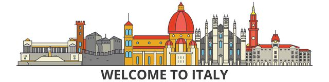 Italy outline skyline, italian flat thin line icons, landmarks, illustrations. Italy cityscape, italian travel city Royalty Free Stock Images