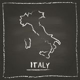 Italy outline vector map hand drawn with chalk on. Stock Photo