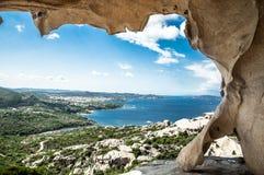 Italy Palau Sardegna. Vista di Palau Sardegna dall'orso della roccia stock images