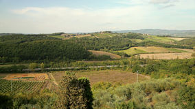 Italy. Panorama of Tuscan landscape.  stock footage